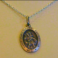 Silver Oval Saint Christopher Necklace